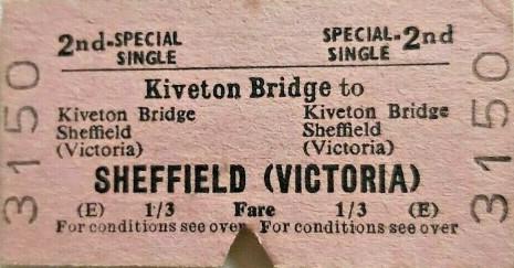 Kiveton Bridge to Sheffield Victoria ticket