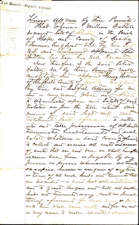 Power of Attorney dated 16 May 1873, part one