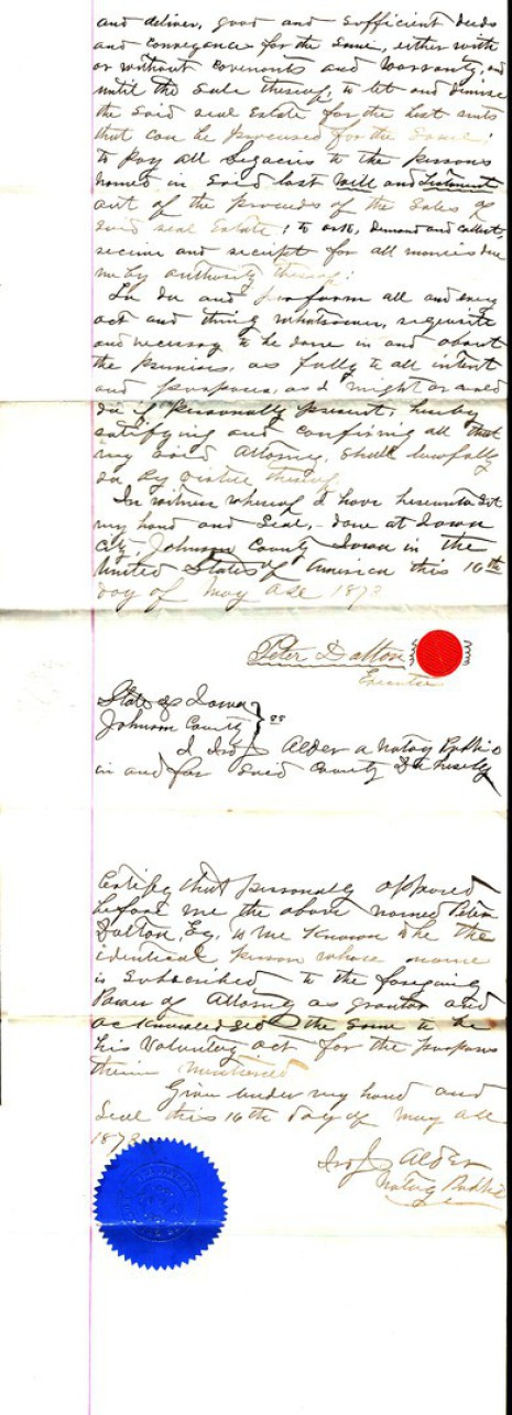 Power of Attorney dated 16 May 1873, part two