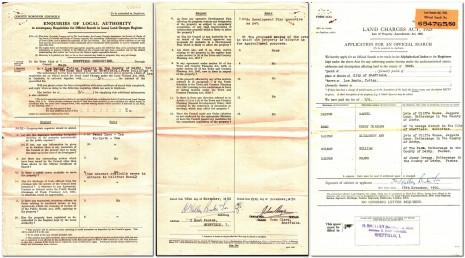 Land Registry Search, 17 November 1950