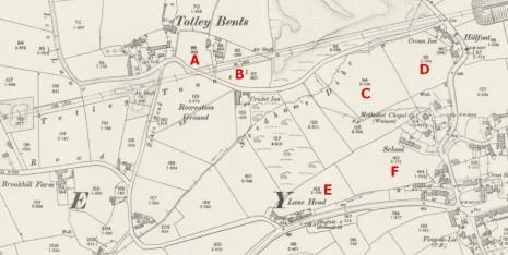 OS 25 inch map surveyed 1896-97, see key below